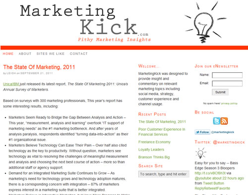 MarketingKICK - a blog for pithy marketing insights